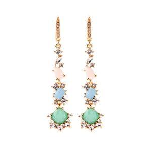 Multi colored long crystal earrings